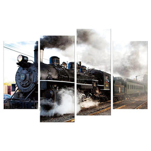 4pcs Train Square Full Drill Diamond Painting 80X40CM(Canvas)