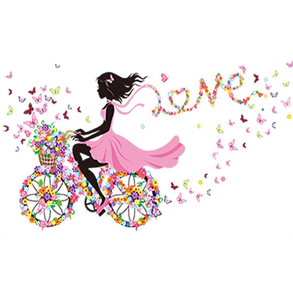 Sweet Girl Love Round Part Drill Diamond Painting 25X35CM(Canvas)