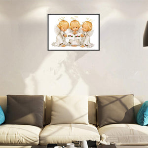 Three Little Angels Round Part Drill Diamond Painting 30X40CM(Canvas)