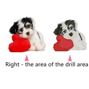 Cute Love Heart Dog Round Part Drill Diamond Painting 30X30CM(Canvas)