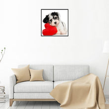 Load image into Gallery viewer, Cute Love Heart Dog Round Part Drill Diamond Painting 30X30CM(Canvas)