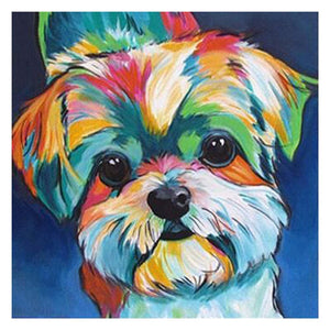 Lovely Colorful Dog Round Part Drill Diamond Painting 30X30CM(Canvas)