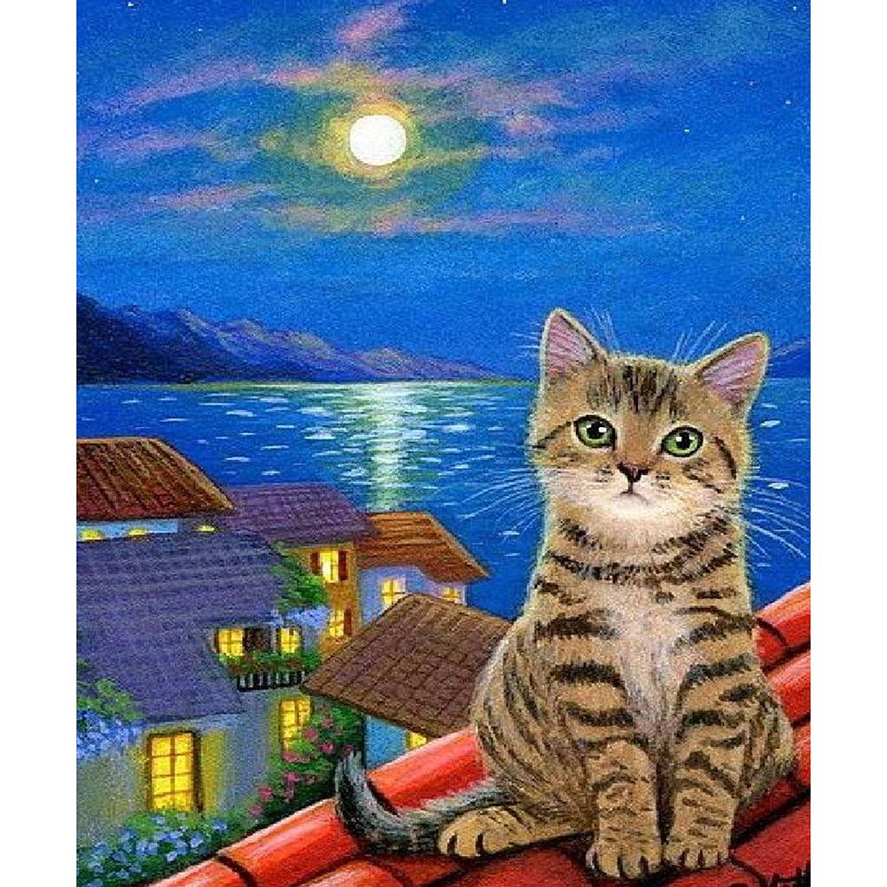 Cat Roof Night Round Part Drill Diamond Painting 30X35CM(Canvas)