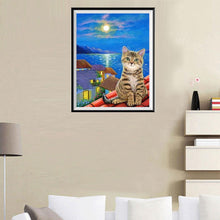Load image into Gallery viewer, Cat Roof Night Round Part Drill Diamond Painting 30X35CM(Canvas)