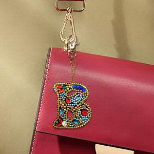 DIY Key Chain Diamond Painting Letters Bag Keyring Pendant Gift (B)