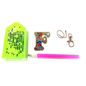 DIY Key Chain Diamond Painting Letters Bag Keyring Pendant Gift (F)