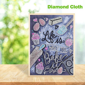 English Special Part Drill Diamond Painting 30X25CM(Canvas)