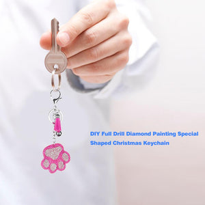 Full Drill Special Shaped Diamond Painting Bear Paw Keychain Bag Pendant