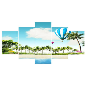 5pcs Beach Round Full Drill Diamond Painting 95X45CM(Canvas)