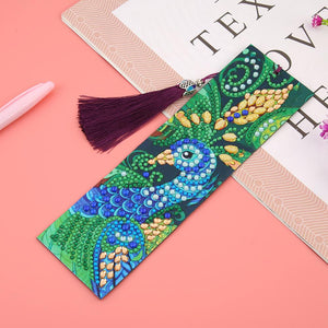 DIY Peafowl Special Shaped Diamond Painting Leather Tassel Bookmark Crafts
