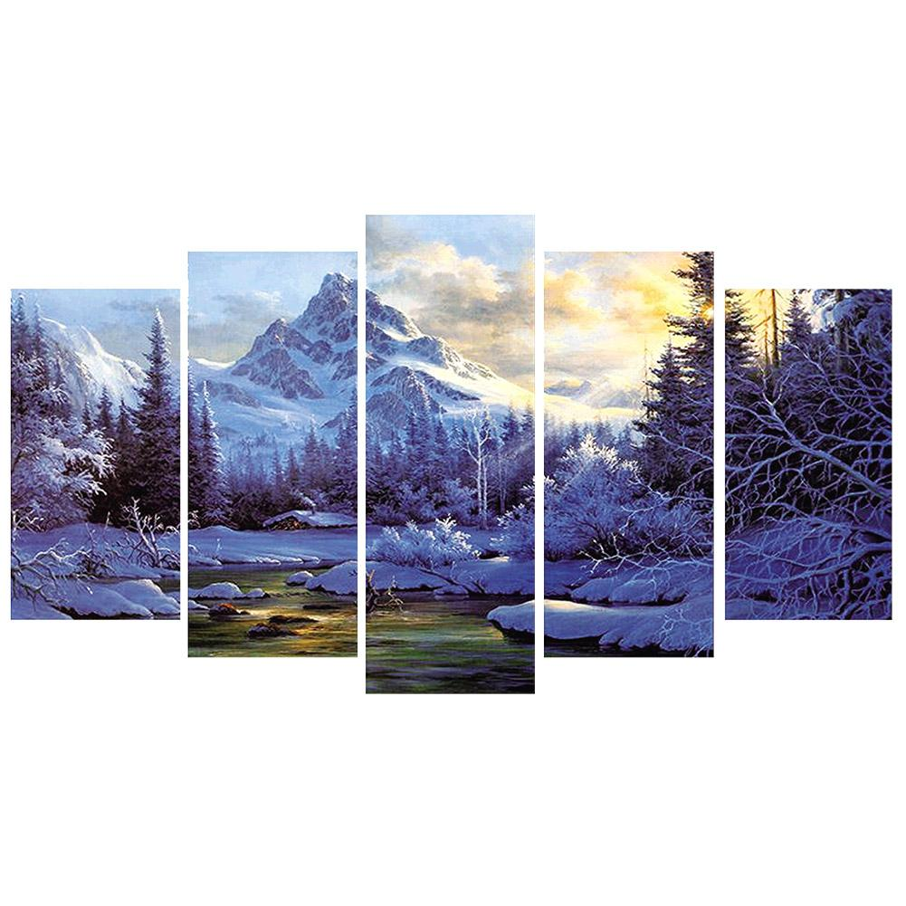 5pcs Snow Mountain Round Full Drill Diamond Painting 95X45CM(Canvas)