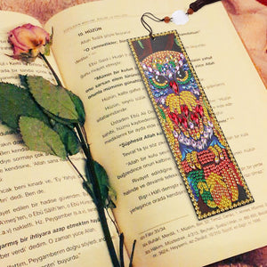 DIY Owl Special Shaped Diamond Painting Leather Bookmarks with Tassel Gifts