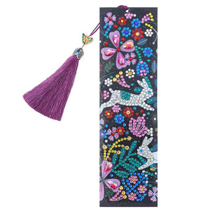 DIY Rabbit Special Shaped Diamond Painting Leather Tassel Bookmark Gifts