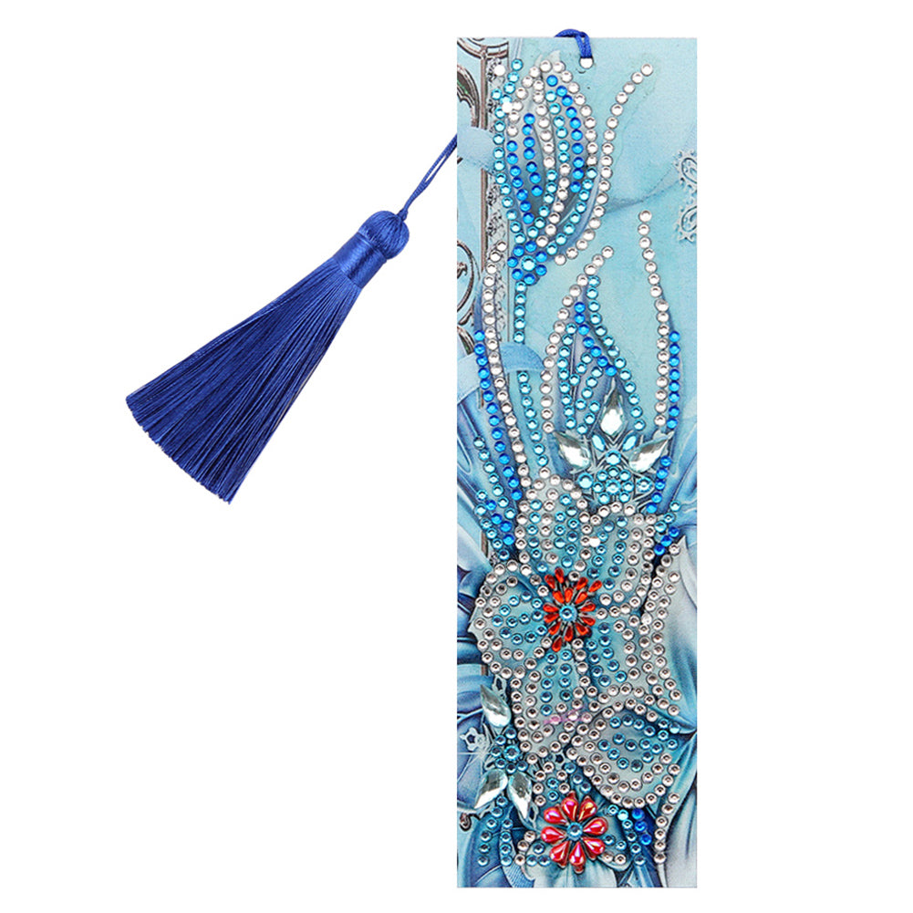 DIY Flower Special Shaped Diamond Painting Students Leather Tassel Bookmark