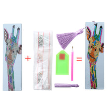 Load image into Gallery viewer, DIY Special Shape Diamond Painting Leather Tassel Bookmark Giraffe Logo