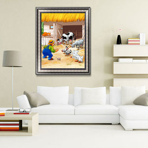 Cow Round Full Drill Diamond Painting 30X40CM(Canvas)