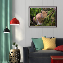 Load image into Gallery viewer, Jungle Cat Round Full Drill Diamond Painting 30X40CM(Canvas)