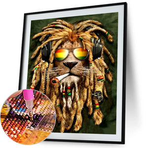Lion Round Full Drill Diamond Painting 30X40CM(Canvas)