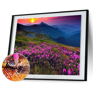 Flowers World Round Full Drill Diamond Painting 30X40CM(Canvas)