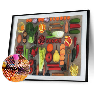 Fruit Vegetables Beaded Round Full Drill Diamond Painting 30X40CM(Canvas)