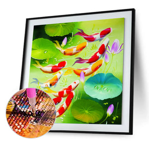 Swimming Fish Full Drill Diamond Painting 30X30CM(Canvas)