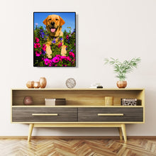 Load image into Gallery viewer, Dog Flower Round Full Drill Diamond Painting 30X40CM(Canvas)