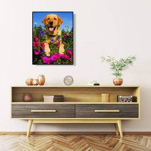 Dog Flower Round Full Drill Diamond Painting 30X40CM(Canvas)
