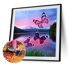Load image into Gallery viewer, Butterfly Lake Round Full Drill Diamond Painting 30X30CM(Canvas)