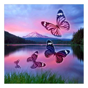 Butterfly Lake Round Full Drill Diamond Painting 30X30CM(Canvas)