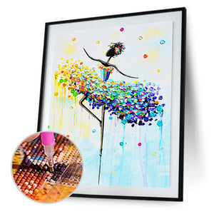 Dancing Girl Round Full Drill Diamond Painting 30X40CM(Canvas)