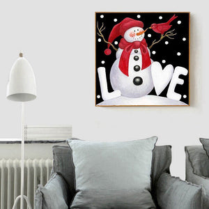Christmas Snowman Round Full Drill Diamond Painting 30X30CM(Canvas)
