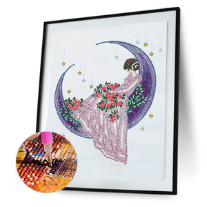 Girl Moon Crystal Special Part Drill Diamond Painting 30X40CM(Canvas)
