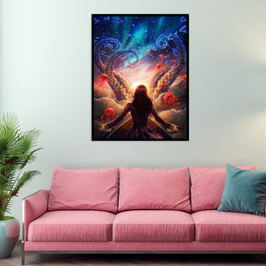 Sci-Fi Beauty Round Full Drill Diamond Painting 30X40CM(Canvas)