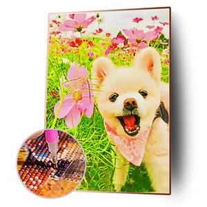 Dog Animal Round Full Drill Diamond Painting 30X40CM(Canvas)