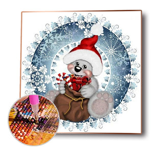 Xmas Animal Round Full Drill Diamond Painting 30X30CM(Canvas)
