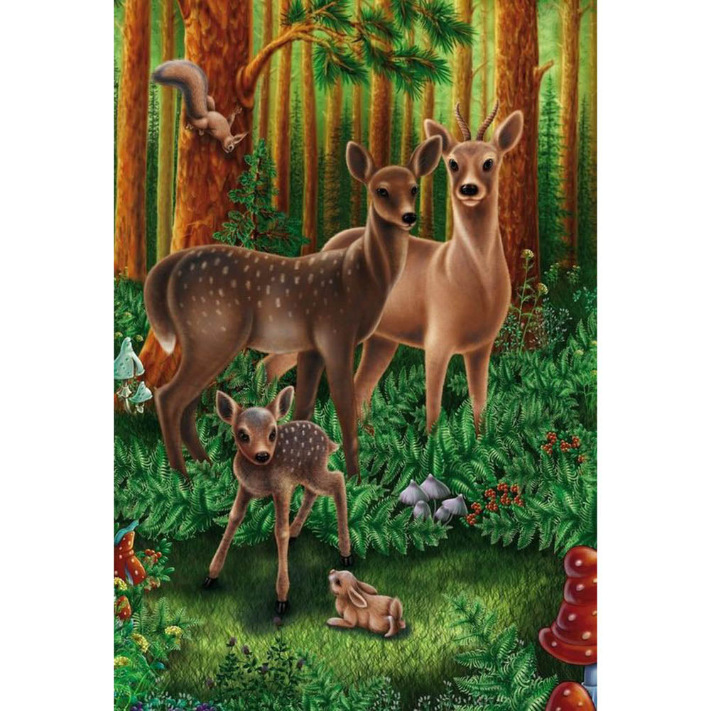 Fawn in Forest Round Full Drill Diamond Painting 30X40CM(Canvas)
