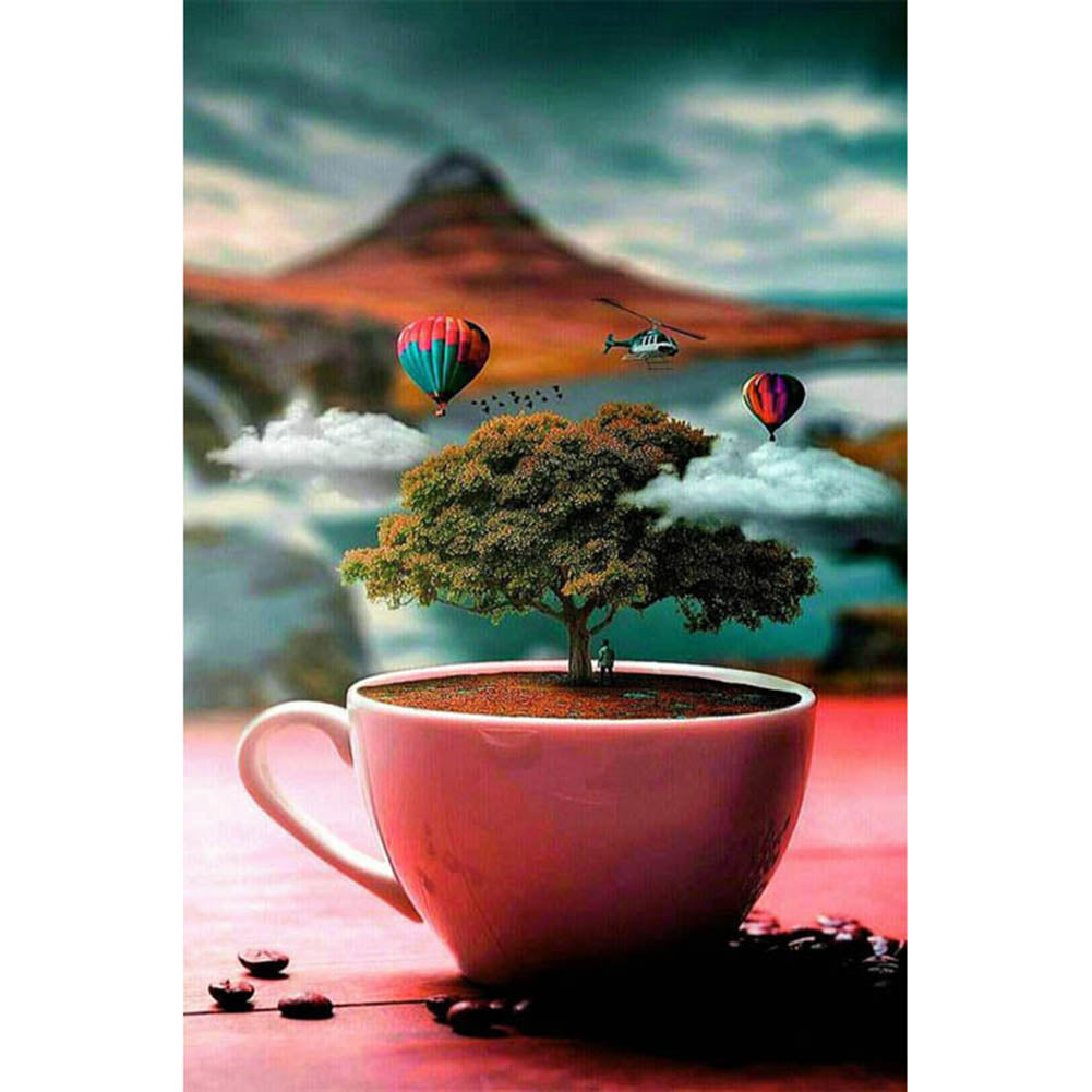 Tree on Cup Round Full Drill Diamond Painting 30X40CM(Canvas)