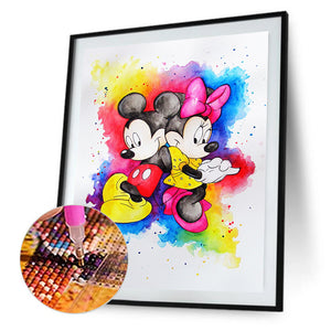 Happy Cartoon Mouse Round Full Drill Diamond Painting 30X40CM(Canvas)
