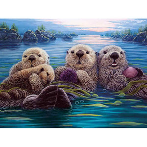 Otter Hanging Round Full Drill Diamond Painting 30X40CM(Canvas)