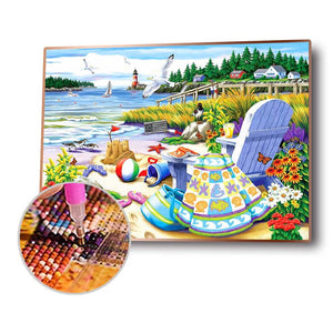 Relaxing Beach Round Full Drill Diamond Painting 30X40CM(Canvas)