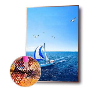 Boat Round Full Drill Diamond Painting 30X40CM(Canvas)