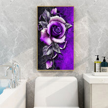 Load image into Gallery viewer, Purple Flowers Round Full Drill Diamond Painting 45X85CM(Canvas)