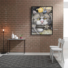 Load image into Gallery viewer, Cute Cat Saber Canvas Round Full Drill Diamond Painting 30X40CM(Canvas)