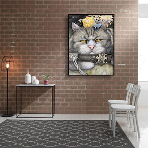 Cute Cat Saber Canvas Round Full Drill Diamond Painting 30X40CM(Canvas)