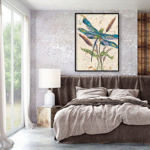 Dragonfly on Plant Round Full Drill Diamond Painting 30X40CM(Canvas)