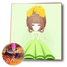 Load image into Gallery viewer, Cartoon Girl Round Full Drill Diamond Painting 45X50CM(Canvas)