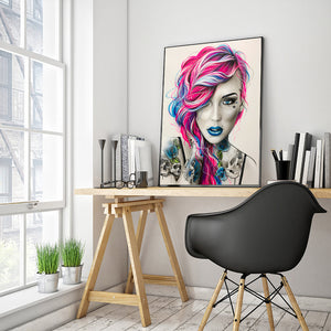 Woman Round Full Drill Diamond Painting 40X50CM(Canvas)