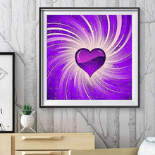 Load image into Gallery viewer, Purple Heart Canvas Round Full Drill Diamond Painting 30X30CM(Canvas)
