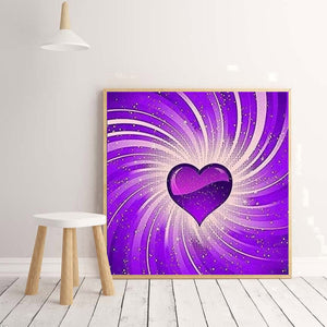 Purple Heart Canvas Round Full Drill Diamond Painting 30X30CM(Canvas)