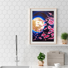Load image into Gallery viewer, Peach Blossom Under Moon Round Full Drill Diamond Painting 30X40CM(Canvas)